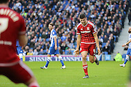 Middlesbrough FC defender Daniel Ayala celebrates the second goal during the Sky Bet Championship match between Brighton and Hove Albion and Middlesbrough at the American Express Community Stadium, Brighton and Hove, England on 19 December 2015. Photo by Phil Duncan.