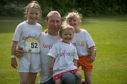 NO FEE PICTURES<br /> 19/5/18 Hundreds of people of all ages lapped up the summer sunshine when they came out to support an important cause which is close to many of their hearts, organ donation, by taking part in the Irish Kidney Association's 'Run for a Life' family fun run which took place at Corkagh Park, Clondalkin, Dublin 22 on Saturday 19th May.   (www.runforalife.ie) Pictured are Kieran Murray Donegal, and daughters  Chloe 7, Sophie 2 and Grace 5. Picture:Arthur Carron