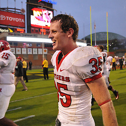 Sep 26, 2009; College Park, MD, USA; Rutgers cornerback Billy Anderson (35) celebrates Rutgers' 34-13 victory over Maryland in NCAA college football at Byrd Stadium.