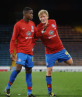Football : Crystal Palace v Ipswich Town 06/11/2012<br /> Jonathan Parr and Wilfired Zaha - Palace share a joke as they wind down after their 5- 0 vicory