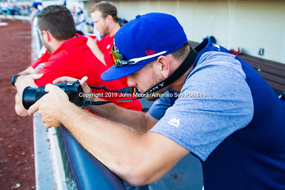 Amarillo Sod Poodles pitcher Nick Margevicius (28) takes pictures against the Midland RockHounds on Tuesday, Aug. 13, 2019, at HODGETOWN in Amarillo, Texas. [Photo by John Moore/Amarillo Sod Poodles]