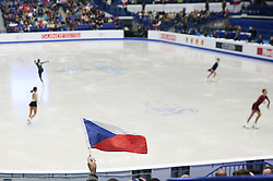 © Licensed to London News Pictures. 27/01/2017. Ostrava, CZ. A Czech flag flies in the air during a warm-up, for Ladies Free Skating at the ISU European Figure Skating Championships in the Ostrava Arena in Ostrava, Czech Republic, on Friday January 27, 2017. Photo credit: Isabel Infantes/LNP