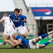 Londra 13/02/2021, Twickenham Stadium<br /> Guinness Six Nations 2021<br /> Inghilterra vs Italia <br /> Marco Lazzaroni placca Luke Cowan Dickie