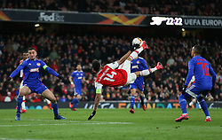 Pierre-Emerick Aubameyang of Arsenal scores a goal to make it 1-0 - Mandatory by-line: Arron Gent/JMP - 27/02/2020 - FOOTBALL - Emirates Stadium - London, England - Arsenal v Olympiacos - UEFA Europa League Round of 32 second leg