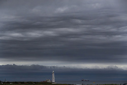 Storm clouds gather over St Mary's Lighthouse in Whitley Bay just off the North East coast as the unsettled weather continues.