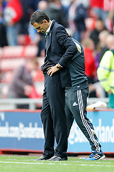 Manager Gustavo Poyet of Sunderland looks dejected after the game ends 1-1 - Photo mandatory by-line: Rogan Thomson/JMP - 07966 386802 - 27/08/2014 - SPORT - FOOTBALL - Sunderland, England - Stadium of Light - Sunderland v Swansea City - Barclays Premier League.