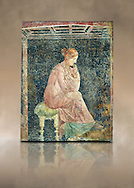 Roman fresco wall painting of a women thinking from the Villa Arianna (Adriana), Stabiae (Stabia) near Pompeii , inv 9097, Naples National Archaeological Museum , art background .<br /> <br /> If you prefer to buy from our ALAMY PHOTO LIBRARY  Collection visit : https://www.alamy.com/portfolio/paul-williams-funkystock - Scroll down and type - Roman Fresco Naples  - into LOWER search box. {TIP - Refine search by adding a background colour as well}.<br /> <br /> Visit our ROMAN ART & HISTORIC SITES PHOTO COLLECTIONS for more photos to download or buy as wall art prints https://funkystock.photoshelter.com/gallery-collection/The-Romans-Art-Artefacts-Antiquities-Historic-Sites-Pictures-Images/C0000r2uLJJo9_s0