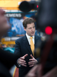 RE-ISSUE NOTE THIS IS A TODAY PICTURE © London News Pictures. 10/03/2012.  Newcastle, UK. Liberal Democrat leader NICK CLEGG speaking to television after a tour of Siemens Energy Service Training Centre in Newcastle Upon Tyne on March 11th 2012 where he met craft apprentices with Business Secretary VINCE CABLE. The Liberal Domocrat Spring Conference is being held in Newcastle this weekend. Photo credit : Ben Cawthra/LNP
