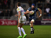 Sale Sharks second-row Bryn Evans res Exeter Chiefs centre Henry Slade during the The Aviva Premiership match Sale Sharks -V- Exeter Chiefs  at The AJ Bell Stadium, Salford, Greater Manchester, England on Friday, October 27, 2017. (Steve Flynn/Image of Sport)