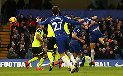 Chelsea's David Luiz (right) scores his side's fifth goal of the game