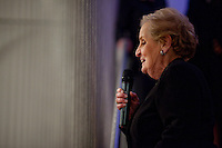 """Former US Secretary of State, Madeline Albright at the opening reception of her exhibit and book release, """"Read MY Pins: StoriesFrom A Diplomat's Jewel Box"""", at the Museum of Art and Design Columbus Circle in New York. (Photo by Robert Caplin)"""