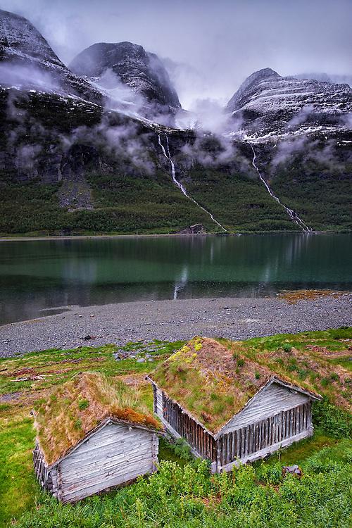 Norway - Troms - Kafjord - Pair of waterfalls