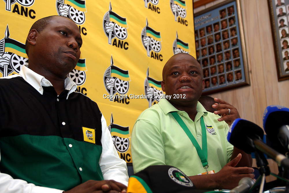 NEWCASTLE - 12 May 2012 - African National Congress part secretary Sihle Zikalala (right) addresses the media at the party's provincial conference as party chairman and KwaZulu-Natal premier, Zweli Mkhize looks on..Picture: Giordano Stolley/Allied Picture Press/APP