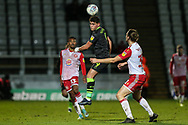 Forest Green Rovers Matty Stevens(9) jumps to head the ball during the EFL Sky Bet League 2 match between Stevenage and Forest Green Rovers at the Lamex Stadium, Stevenage, England on 26 December 2019.