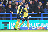 GOAL Jordan Hallam celebrates scoring 1-1 during the EFL Sky Bet League 1 match between Rochdale and Scunthorpe United at Spotland, Rochdale, England on 23 March 2019.