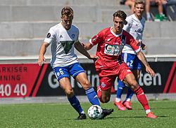 Jakob Skovgaard Larsen (HIK) og Oliver Kjærgaard (FC Helsingør) under træningskampen mellem FC Helsingør og HIK den 1. august 2020 på Helsingør Ny Stadion (Foto: Claus Birch).