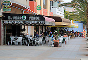 People sitting outside cafe, Gran Tarajal, Fuerteventura, Canary Islands, Spain