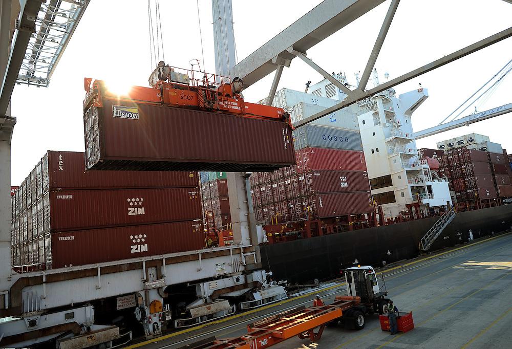 Georgia Ports Authority , Thursday, June, 13, 2013, at the Garden City Terminal near Savannah, Ga.  (GPA Photo/Stephen Morton)