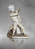 Roman statue of a Boy strangling a goose, a Roman copy of a late 3rd century Hellenistic bronze statue attributed to Boethos. Excavated from the Villa dei Quintilli on the Appian Way, inv 2655, Vatican Museum Rome, Italy,  grey art background ..<br /> <br /> If you prefer to buy from our ALAMY STOCK LIBRARY page at https://www.alamy.com/portfolio/paul-williams-funkystock/greco-roman-sculptures.html . Type -    Vatican    - into LOWER SEARCH WITHIN GALLERY box - Refine search by adding a subject, place, background colour, museum etc.<br /> <br /> Visit our CLASSICAL WORLD HISTORIC SITES PHOTO COLLECTIONS for more photos to download or buy as wall art prints https://funkystock.photoshelter.com/gallery-collection/The-Romans-Art-Artefacts-Antiquities-Historic-Sites-Pictures-Images/C0000r2uLJJo9_s0c