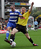 Fotball<br /> England 2004/2005<br /> Foto: SBI/Digitalsport<br /> NORWAY ONLY<br /> <br /> Watford v Reading<br /> Coca-Cola championship. Vicarage Road.<br /> 25/09/2004<br /> Watford's Neil Cox and Reading's Andy Hughes battle for the ball.