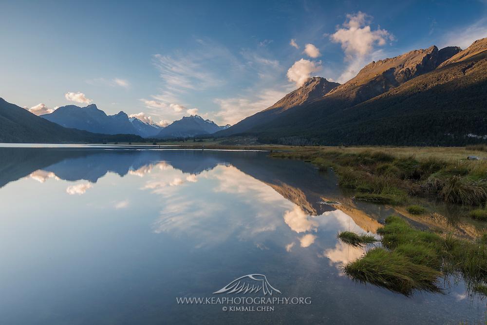 Diamond Lake reflecting paradise, in Paradise, New Zealand.