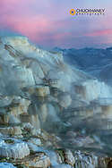 Canary Spring at sunrise at Mammoth Hot Springs in winter in Yellowstone National Park, Wyoming, USA