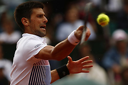 June 2, 2017 - Paris, France - Novak Djokovic of Serbia hits a forehand during the men's singles third round match against Diego Schwartzman of Argentina on day six of the 2017 French Open at Roland Garros on June 2, 2017 in Paris, France. (Credit Image: © Mehdi Taamallah/NurPhoto via ZUMA Press)