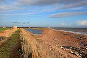 Rapid erosion shingle bay bar landform, North Sea coast, Hollesley Bay, Bawdsey, Suffolk, England, UK