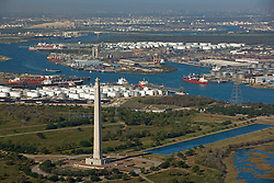 Aerial view of the Port of Houston with the San Jacinto Monument
