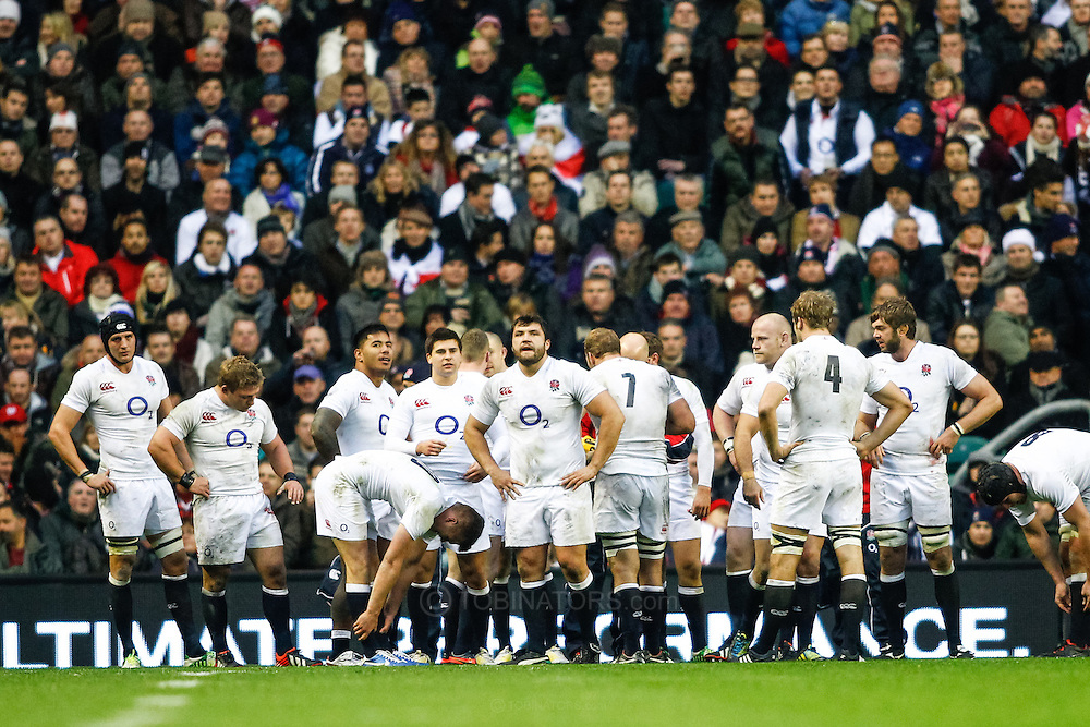 Picture by Andrew Tobin/SLIK images +44 7710 761829. 2nd December 2012. England players look on during the QBE Internationals match between England and the New Zealand All Blacks at Twickenham Stadium, London, England. England won the game 38-21.