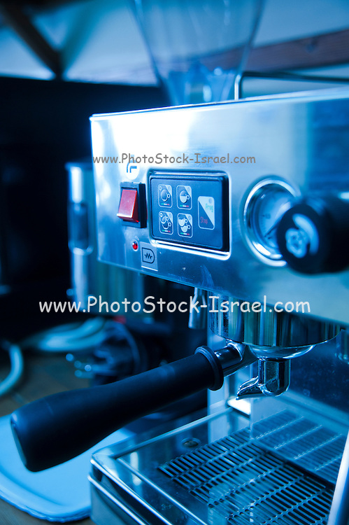 Espresso coffee machine closeup