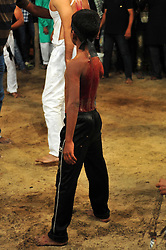 October 28, 2016 - Allahabad, Uttar Pradesh, India - Allahabad: A minor Shia Muslim devotee hit himself by a bunch of knief  during take part in Ashura'a Taziya parade held in Allahabad on 28-10-2016, Muharram is celebrated to mark the climax of the mourning which is Called Ashura, The ccommenmoration of Imam Hussain's. photo by prabhat kumar verma (Credit Image: © Prabhat Kumar Verma via ZUMA Wire)