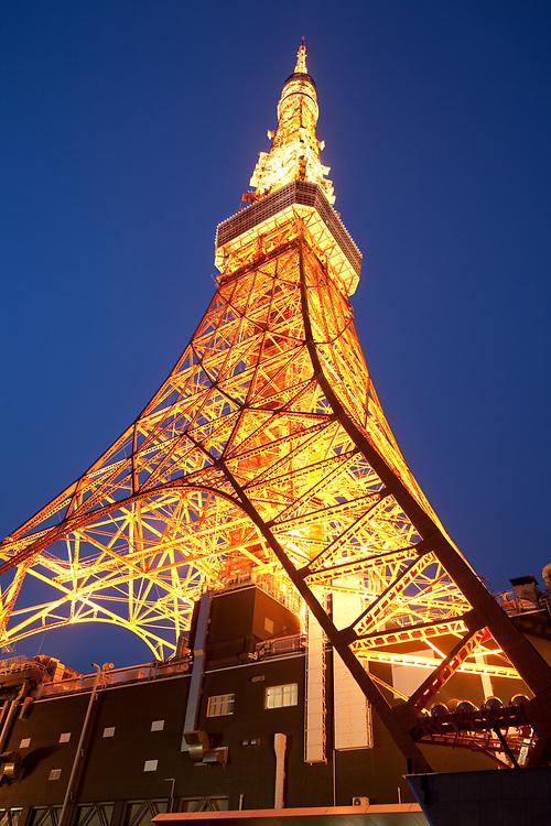 Minato Ward, Tokyo, Kanto Region, Honshu, Japan, Asia - Tokyo Tower view from below.