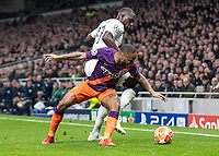Football - 2018 / 2019 UEFA Champions League - Quarter Final , First Leg: Tottenham Hotspur vs. Manchester City<br /> <br /> Moussa Sissoko (Tottenham FC)  tackles Raheem Sterling (Manchester City) at White Hart Lane Stadium.<br /> <br /> COLORSPORT/DANIEL BEARHAM