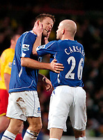 Photo: Ed Godden/Sportsbeat Images.<br /> Watford v Everton. The Barclays Premiership. 24/02/2007.<br /> Everton's James Beattie (L) and Lee Carsley, celebrate after their teams first goal.
