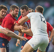 Twickenham, England.  Sam BURGESS, Tackle French pair, left Vincent DEBATY and Louis PICAMOLES,  with the ball, during the QBE International. England vs France [World cup warm up match]  Saturday.  15.08.2015,  [Mandatory Credit. Peter SPURRIER/Intersport Images].
