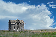 An abandon farmhouse on the prairie near the town of Lindsborg, Kansas.