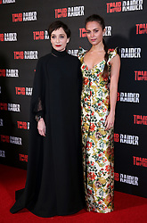 Kristin Scott Thomas and Alicia Vikander attending the Tomb Raider European Premiere held at Vue West End in Leicester Square, London.