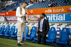 April 17, 2018 - Gent, BELGIUM - Gent's Stefan Mitrovic with crutches and Renato Neto pictured at the start of the Jupiler Pro League match between KAA Gent and KRC Genk, in Gent, Tuesday 17 April 2018, on day four of the Play-Off 1 of the Belgian soccer championship. BELGA PHOTO JASPER JACOBS (Credit Image: © Jasper Jacobs/Belga via ZUMA Press)