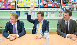 ***STRICT EMBARGO UNTIL 12:01AM 13/06/14*** © Licensed to London News Pictures. 12/06/2014. Carshalton, UK. (L-R) David Laws, Nick Clegg, Tom Brake. Deputy Prime Minister and leader of the Liberal Democrats, Nick Clegg, visits Carshalton High School for Girls in Surrey today 12th June 2014. He was joined by Schools Minister David Laws and local Liberal Democrat MP Tom Brake.  Photo credit : Stephen Simpson/LNP