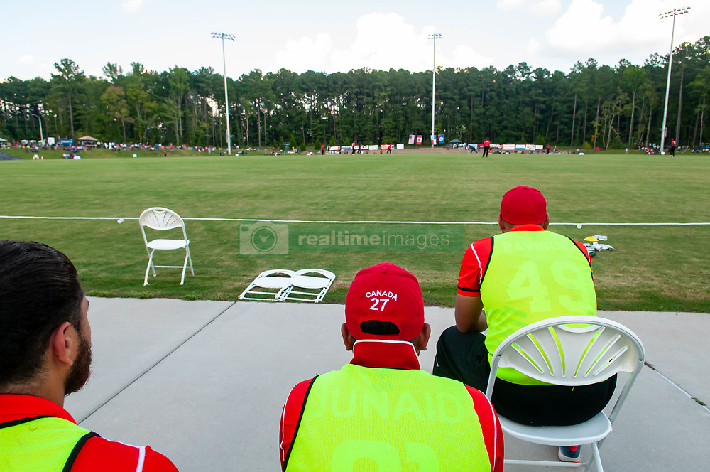 September 22, 2018 - Morrisville, North Carolina, US - Sept. 22, 2018 - Morrisville N.C., USA - Team Canada players watch the action during the ICC World T20 America's ''A'' Qualifier cricket match between USA and Canada. Both teams played to a 140/8 tie with Canada winning the Super Over for the overall win. In addition to USA and Canada, the ICC World T20 America's ''A'' Qualifier also features Belize and Panama in the six-day tournament that ends Sept. 26. (Credit Image: © Timothy L. Hale/ZUMA Wire)