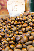 Chestnuts on display for sale in Misir Carsisi Egyptian Bazaar food and spice market in Istanbul, Turkey