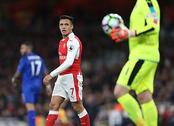 26 April 2016 London : Premier League Football : Arsenal v Leicester City :<br /> Alexis Sanchez of Arsenal keeps his eye on City keeper Schmeichel.<br /> Photo: Mark Leech