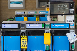 © licensed to London News Pictures. Glossop, UK  29/03/2012. An Esso petrol station on High Street, Glossop, has sold out of all fuel. An attendant said that panic buyers caused them to run out by lunch time today (Thursday 29th) and that they were not due replenishment until 10pm this evening. Photo credit should read Joel Goodman/LNP
