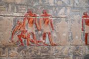 Hieroglyphs adorn a wall within the Mastaba of Kagemni, Saqqara, Al Badrashin, Giza Governate, Egypt.