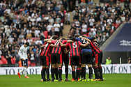The AFC Bournemouth players in a pre match huddle.<br /> Premier league match, Tottenham Hotspur v AFC Bournemouth at Wembley Stadium in London on Saturday 14th October 2017.<br /> pic by Kieran Clarke, Andrew Orchard sports photography.