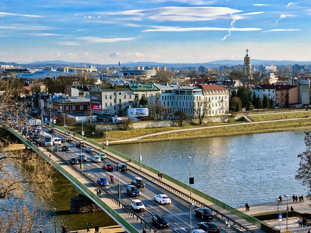 Most Dębnicki i zakole Wisły pod Wawelem, Kraków, Polska<br /> Dębnicki Bridge and the Vistula Swamp near Wawel Hill, Cracow, Poland