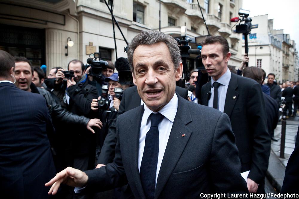 11042012. Paris La Mutualité. Election présidentielle 2012. Nicolas Sarkozy en meeting devant les élus locaux UMP.