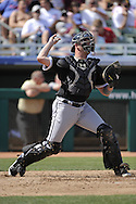 MESA, AZ - MARCH 6:  Tyler Flowers #17 of the Chicago White Sox throws the ball against the Chicago Cubs on March 6, 2010 at HoHoKam Park in Mesa, Arizona. (Photo by Ron Vesely)