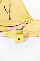 Yellow chakra tibetan singing bowl.
